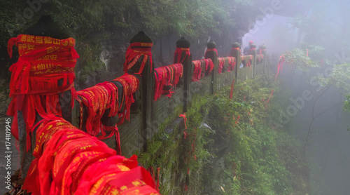 The traditional red ribbon in the monastery of Wudang Mountains