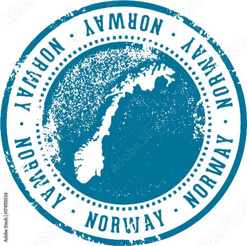 Vintage Norway Europe Travel Stamp Poster