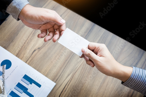 Business executive man exchanging business card for start good business executive man exchanging business card for start good connection with partner colourmoves