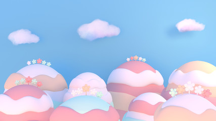 Sweet cartoon candy world. 3d rendering picture.