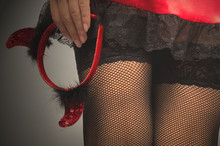 Woman In Short Red Dress And B...