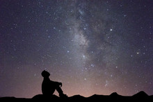 Milky Way With Silhouette Of P...