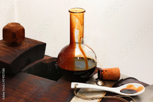Balsamic vinegar of Modena, Italy, glass bottle containing special sweetening Modena