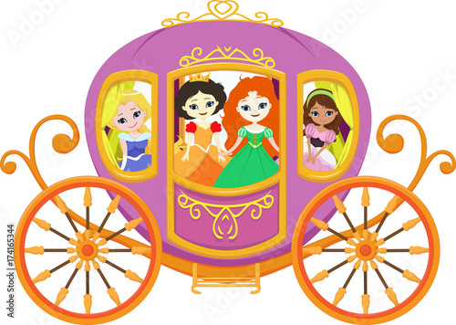 Leinwand Poster happy princess with royal carriage