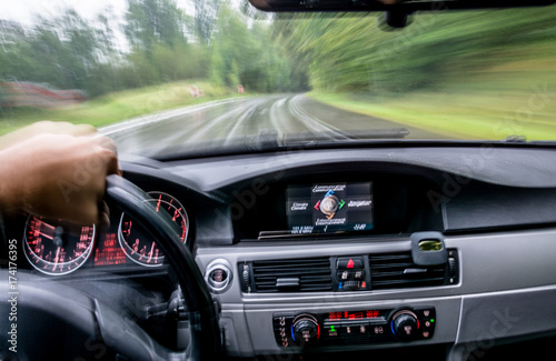 Fotografia, Obraz fast car ride. view from inside. abstract background