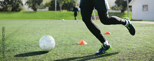 Leg skill training on football field