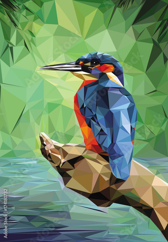 Leinwand Poster Kingfisher Low Poly