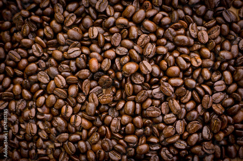 Deurstickers Koffiebonen roasted coffee beans, can be use for a background