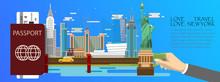 Travel Infographic .New York  Infographic , Passport  With Landmarks Of America .