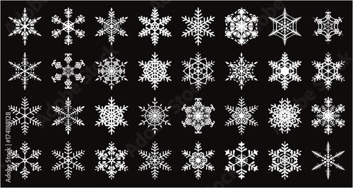 Stoffe zum Nähen 雪の結晶のベクター素材32個セット Schneeflocken - 32 Stück