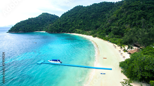 Spoed Foto op Canvas Turkoois high angle view of nyang oo phee island sea beach most popular traveling destination in myanmar