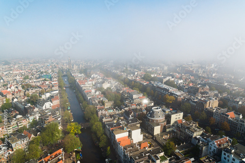 Photo Foggy Amsterdam, view from above