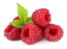 Ripe Raspberries With Green Le...