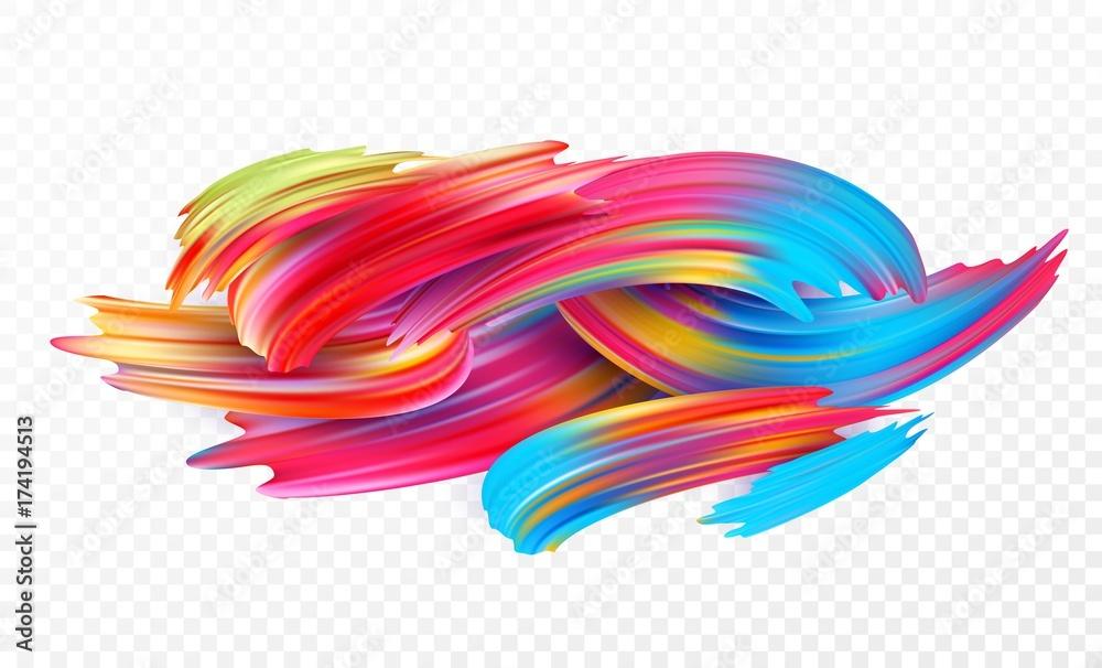 Fototapeta Color brushstroke oil or acrylic paint design element for presentations, flyers, leaflets, postcards and posters. Vector illustration