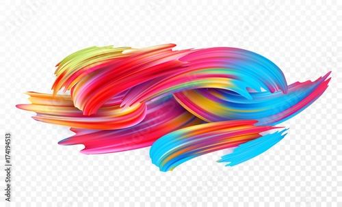 Fototapeta Color brushstroke oil or acrylic paint design element for presentations, flyers, leaflets, postcards and posters. Vector illustration obraz