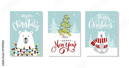 Set of Christmas and New Year greeting cards. Vector illustration ...