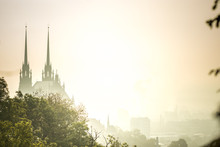 View Of Old City In Fog At Sunrise. City Of Brno Czech Republic - Cathedral Of St. Peter And Paul.