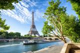 Fototapeta Fototapety z wieżą Eiffla - Seine in Paris with Eiffel Tower in sunrise time