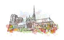 Watercolor Sketch Of Notre-Dam...