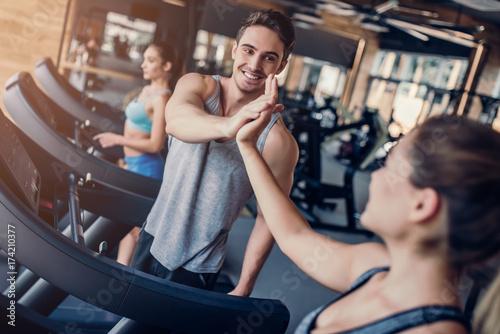 Foto op Plexiglas Fitness Sports people in gym