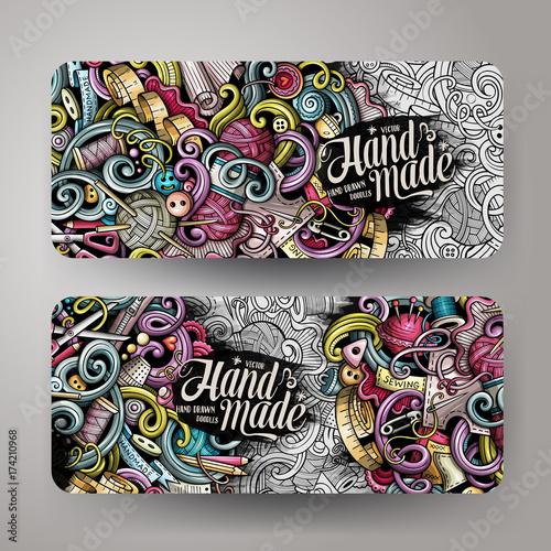 Fototapeta Cartoon colorful vector hand drawn doodles handmade 2 Horizontal banners obraz