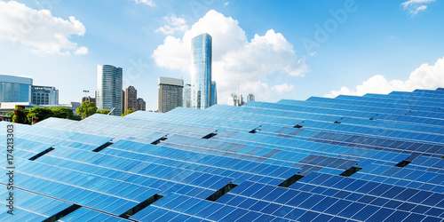 Shanghai urban landscape, landmarks and solar panels Canvas Print