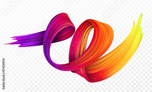 Color brushstroke oil or acrylic paint design element for presentations, flyers, leaflets, postcards and posters. Vector illustration - fototapety na wymiar