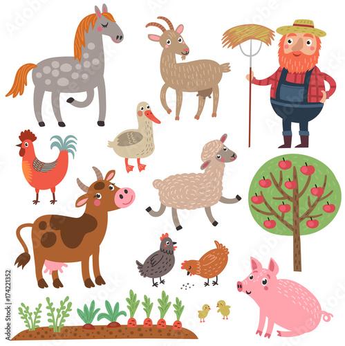 Poster de jardin Zoo Animals farm vector set