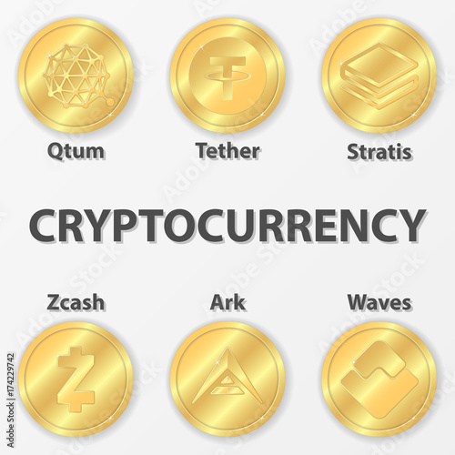 Set Of 6 Cryptocurrency Icon Golden Zcash Ark And Etc