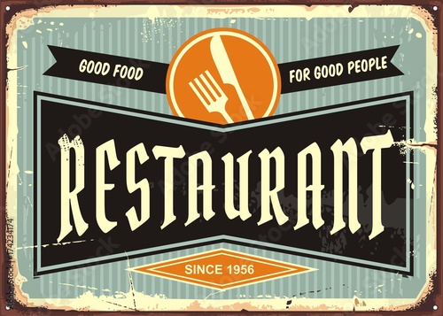 Restaurant sign with knife and fork symbol. Diner signboard template ...