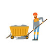 Male miner in uniform working in mine with wheelbarrow, professional miner at work, coal mining industry vector Illustration