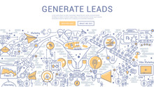 Doodle Vector Illustration Of Lead Generation, Sales Funnel, Marketing Process For Generating Business Leads.