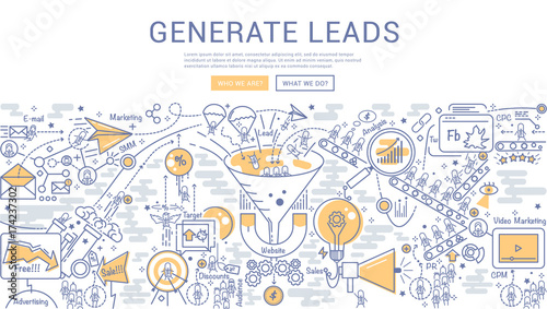 Doodle Vector Illustration Of Lead Generation Sales Funnel
