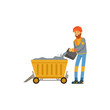 Male miner in uniform working in mine with trolley, professional miner at work, coal mining industry vector Illustration