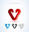 Arrow logo template. Download button. Material design, flat, line art style