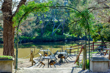 Studley Park Boathouse, Empty Tables And Chairs At The Cafe On The Yarra River In Kew, Melbourne, Australia