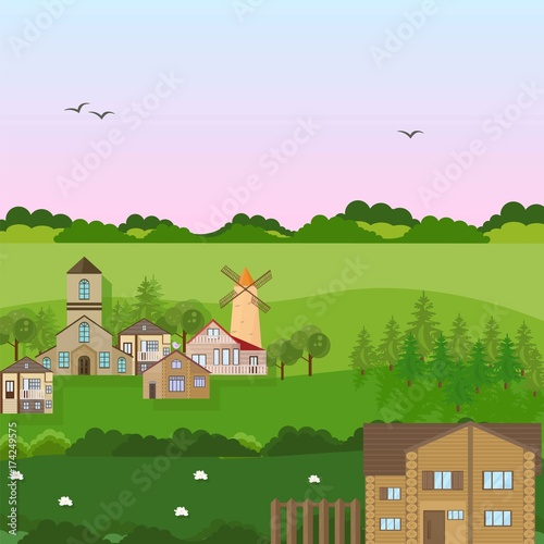 Papiers peints Chateau Village houses in a field. Vector green nature flat style