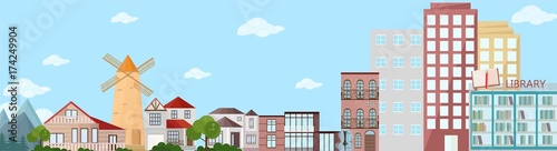 Cityscape view with buildings and mountains nature. Vector banner template