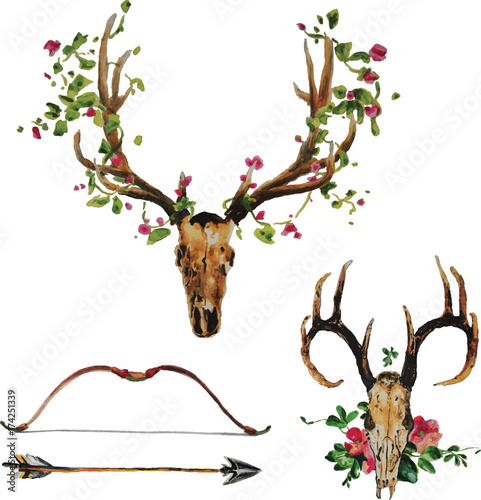 Photo sur Toile Crâne aquarelle Bohemian deer skull with flowers, arrow and bow set