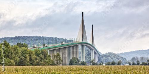 Foto auf Leinwand Bridges Brotonne bridge over Seine river panorama