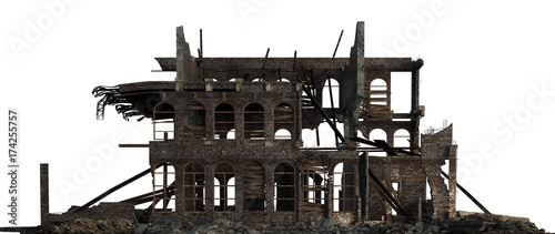 Fotografía  Ruined Building Isolated On White 3D Illustration