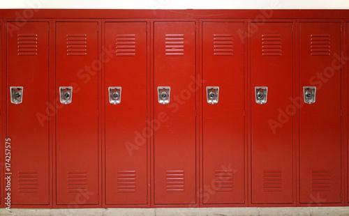 Fototapeta close up on red lockers in gym obraz