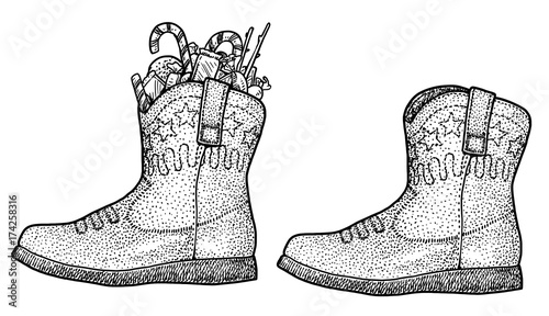 Christmas Boots Drawing.Christmas Boot With Candies Illustration Drawing Engraving