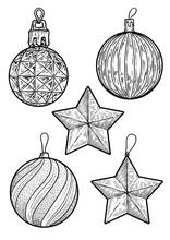 Christmas Balls Illustration, Drawing, Engraving, Ink, Line Art, Vector