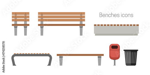 Benches flat icons Wallpaper Mural