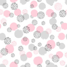 Seamless Dotted Pattern With Pink And Gray Circles. Vector Abstract Background With Round Shapes