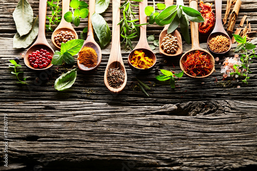 Canvas Prints Spices Herbs and spices on a old wooden background