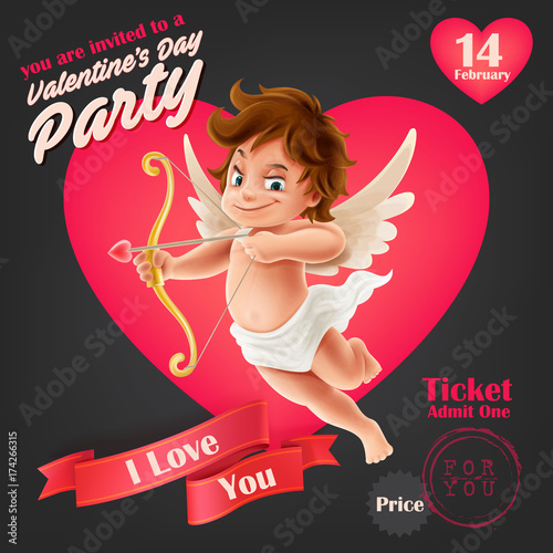 Fotografie, Tablou Valentine's day party with cupid