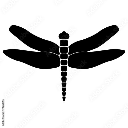 Dragonfly black icon . Canvas Print