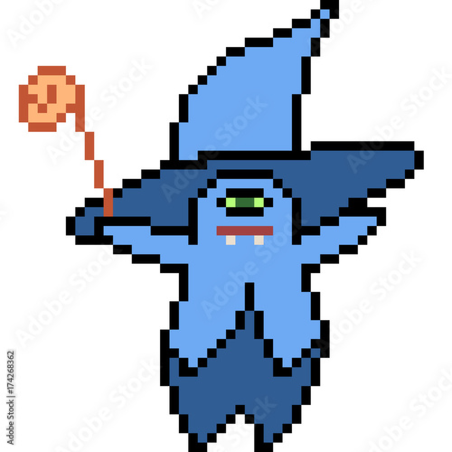 Photo Stands Pixel vector pixel art monster magician